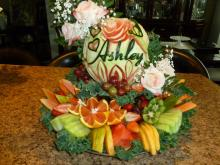Personalized bridal shower fruit display