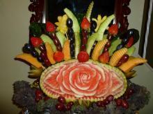Carved watermelon fruit arrangement