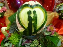 Wedding fruit carving centrepiece