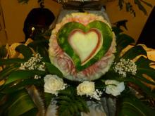 Heart shape watermelon carved centrepiece
