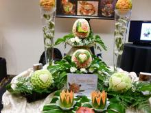 Wedding show fruit carving display