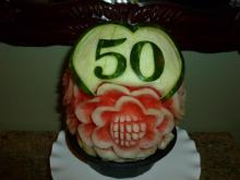 50th birthday watermelon carving